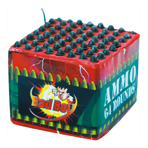Cut Price Fireworks Leicester Bad Boy Ammo 64 Rounds Barrage
